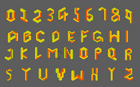 矢量矛盾空间字母和数字图片
