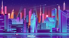 霓虹色扁平城市建筑图片