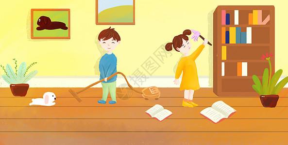 劳动节卡通人物打扫卫生图片