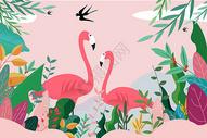 热带植物动物背景图片