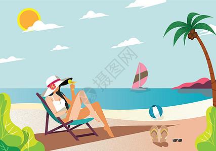 沙滩沐浴阳光图片