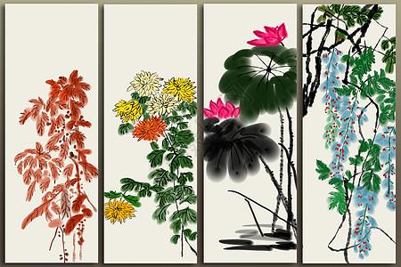 四季水墨画图片
