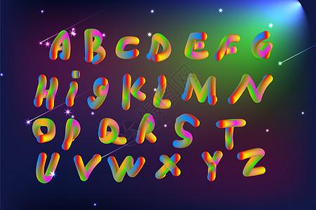 特效英文字母26个,在深邃的夜空中图片