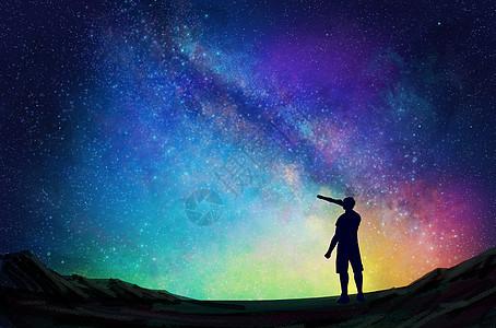 星空下的人图片