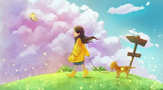 遛狗的小女孩图片