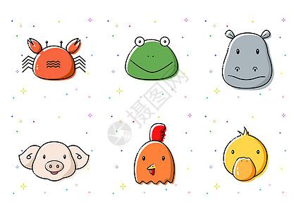 手绘MBE风格小动物图标图片