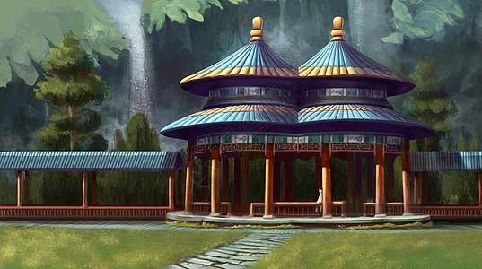 中国建筑凉亭风景图片