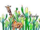 水彩植物动物插画图片
