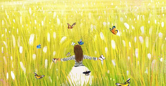 蝴蝶共舞女孩图片