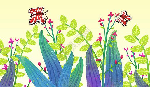 唯美蝴蝶花卉插画图片