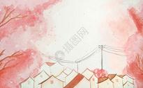 樱花治愈插画图片