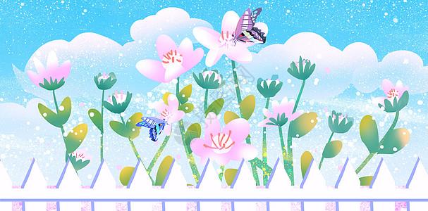 蓝天下的花朵图片