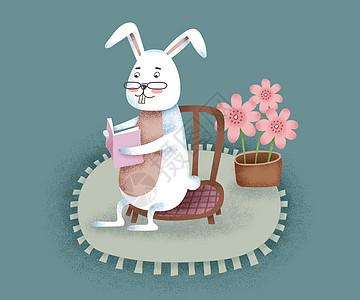 兔子看书插画高清图片