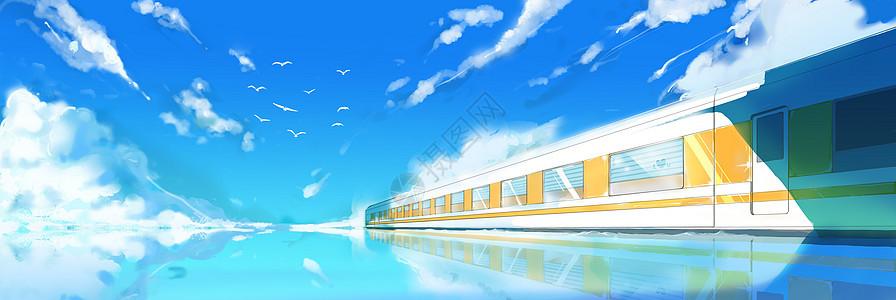 碧海蓝天下行驶的列车图片