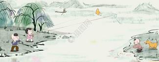 水边放风筝   和狗狗一起玩鱼图片