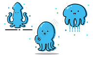 MEB海洋生物表情组,蓝色系图片