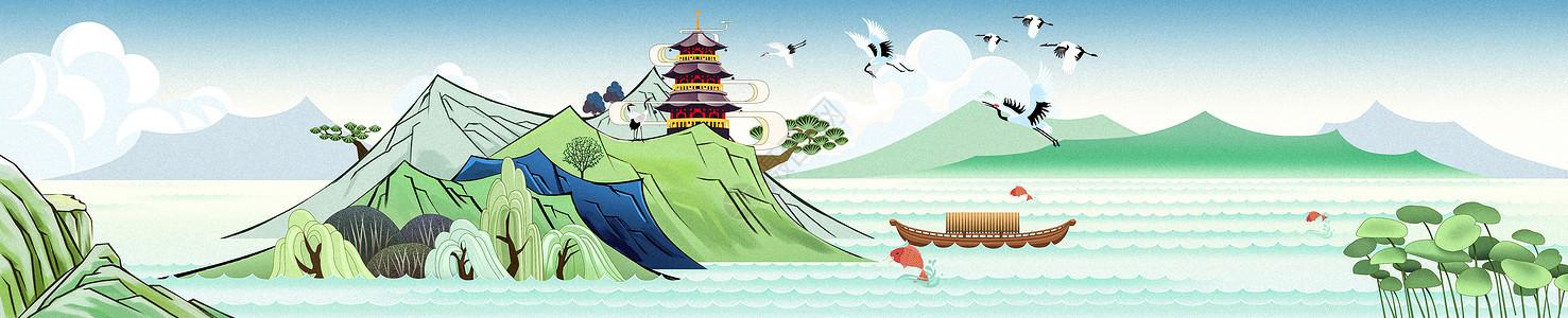 中国风建筑banner图片
