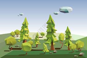 绿色低多边形森林,3D树的立体大自然图片