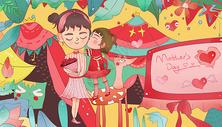 母亲节中国风插画主题图片