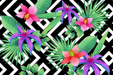 黑白几何底纹花卉背景图片