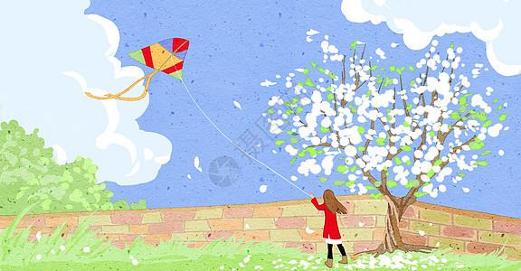 放风筝图片