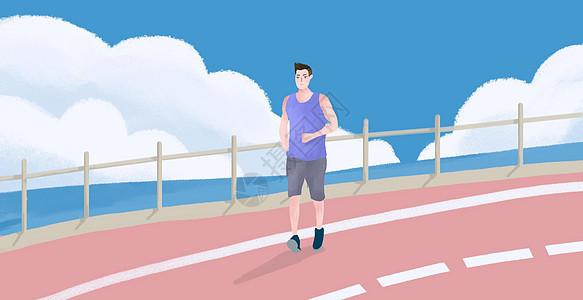 在公路跑步的男生图片