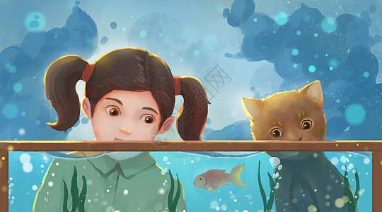 鱼缸旁的女孩与猫咪图片