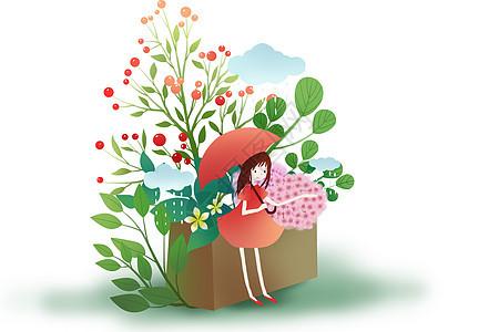 小清新植物少女图片