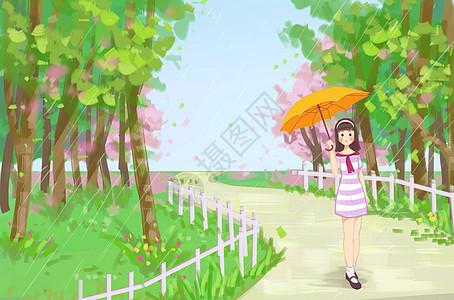 春雨踏青图片