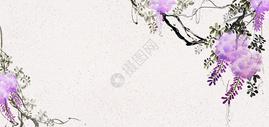 国画紫藤背景素材图片