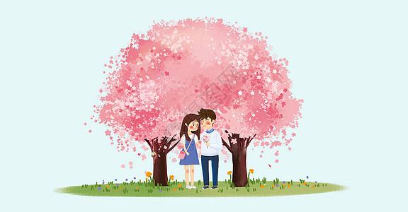 樱花树下的情侣图片
