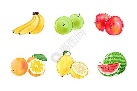 水果素材手绘水彩图片