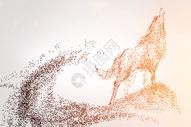 狼剪影粒子图片