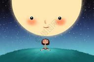 望月亮的小女孩图片