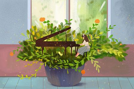 弹钢琴的女生图片