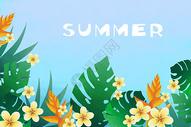 夏天字母花卉植被背景图片