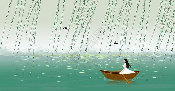 湖中划船的女孩图片