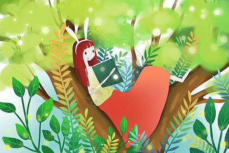 树上看书的少女图片