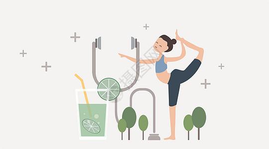 瑜伽清新风矢量插画图片