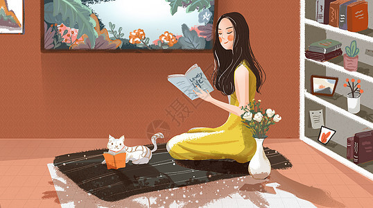 读书的少女图片
