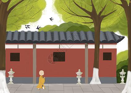 夏日禅院佛系背景图图片
