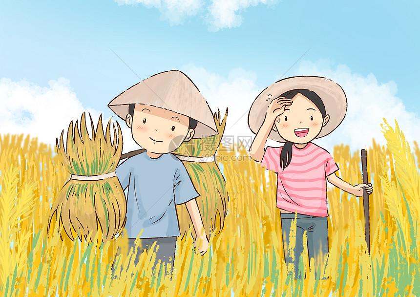 在农田里劳动的农民图片