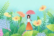花丛中打伞的少女图片
