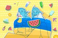 夏日海边冰饮水果图片