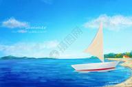 夏之海风-夏天海边帆船图片