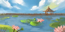 中国风立夏荷花池图片