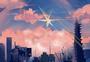城市星空插画图片