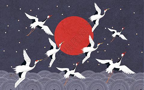 中国仙鹤背景图片
