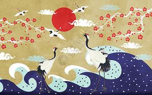 梅花仙鹤图图片
