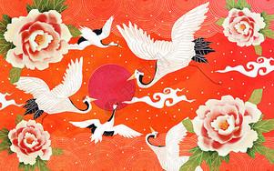 牡丹仙鹤图图片